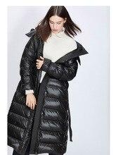 Down jacket woman hooded winter warm zipper puffer belt long black plue size down coats female