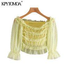 KPYTOMOA Women 2020 Sweet Fashion Polka Dot Mesh Cropped Blouses Vintage See Through Sleeves Ruffled Female Shirts Chic Tops