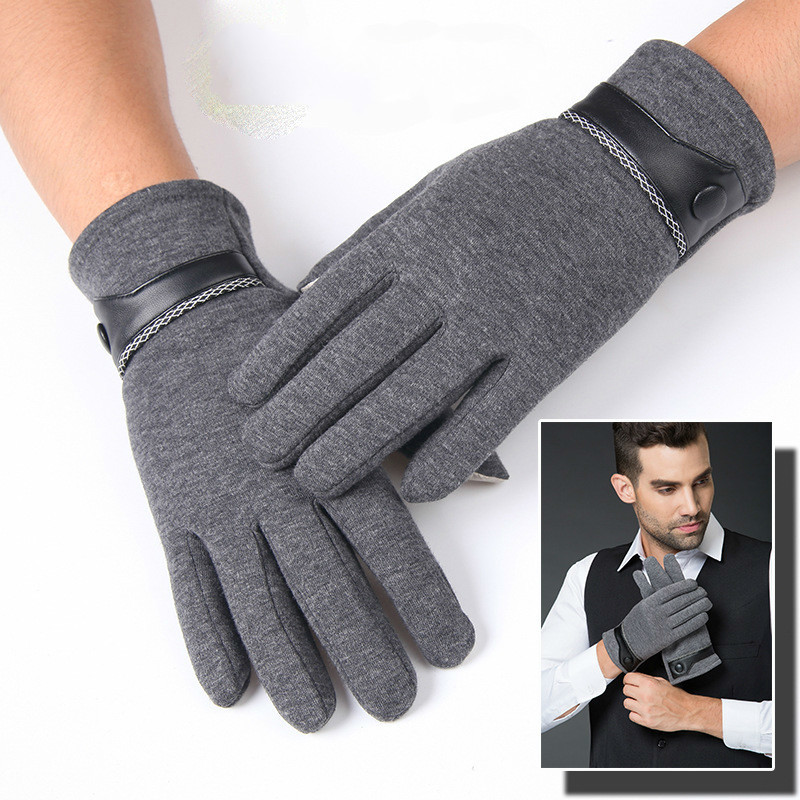 Hot Winter Protective Gloves PU Leather Cotton Men's Motorcycle Durable Gloves Solid Patchwork Driving Thicken Warm Handschoenen