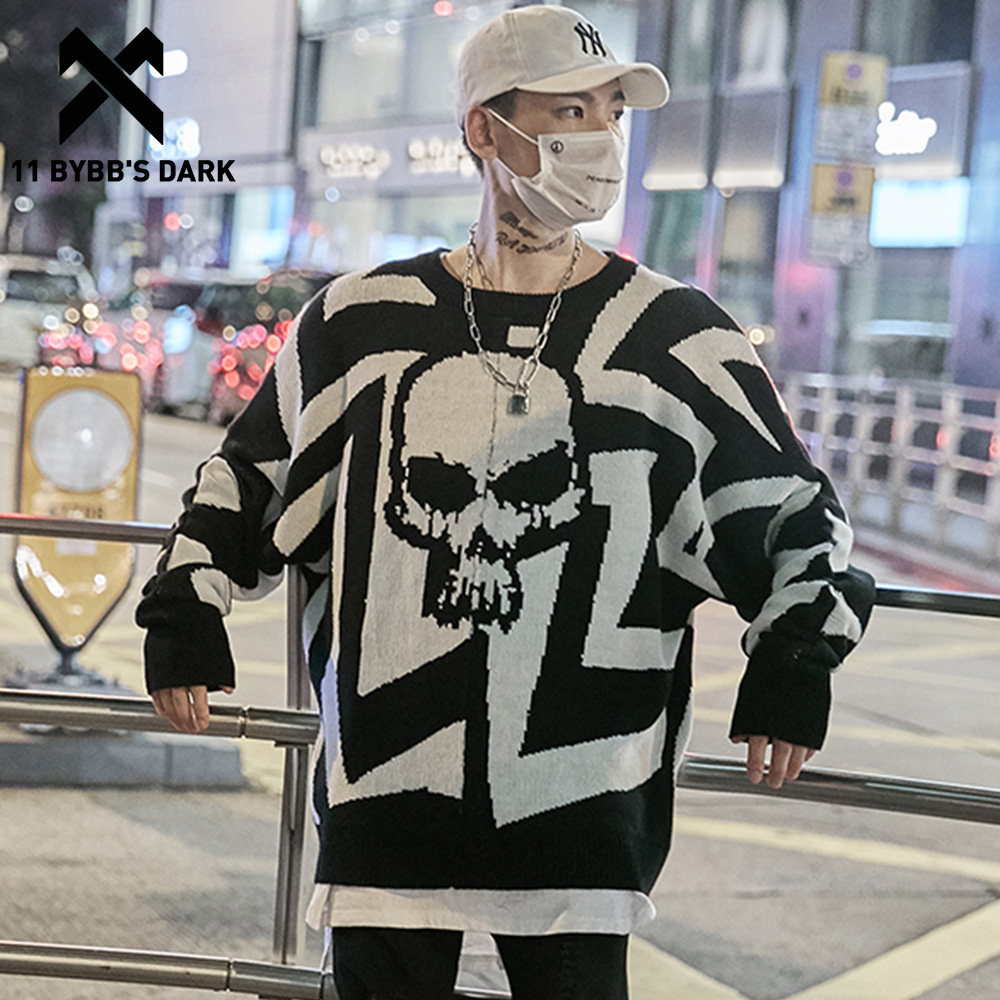 11 BYBB'S DARK Men Skull Printed Hip Hop Sweater Streetwear High Quality Loose Oversized Sweaters Casual Pullover Clothing KA13
