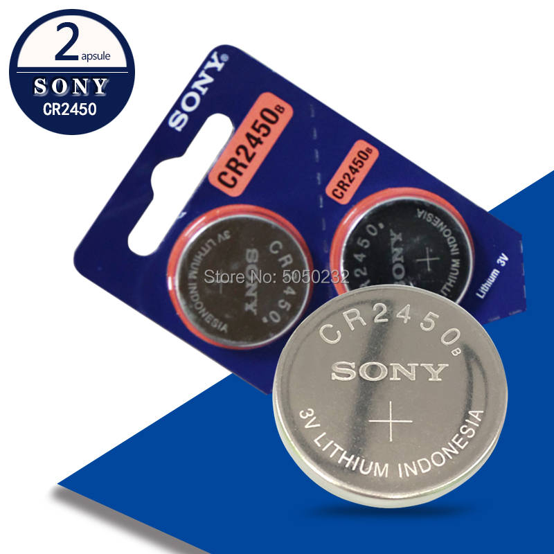 2PCS/LOT New Original Sony CR2450 <font><b>CR</b></font> <font><b>2450</b></font> <font><b>3V</b></font> Lithium Button Cell Battery Coin Batteries For Watches,clocks,hearing aids image