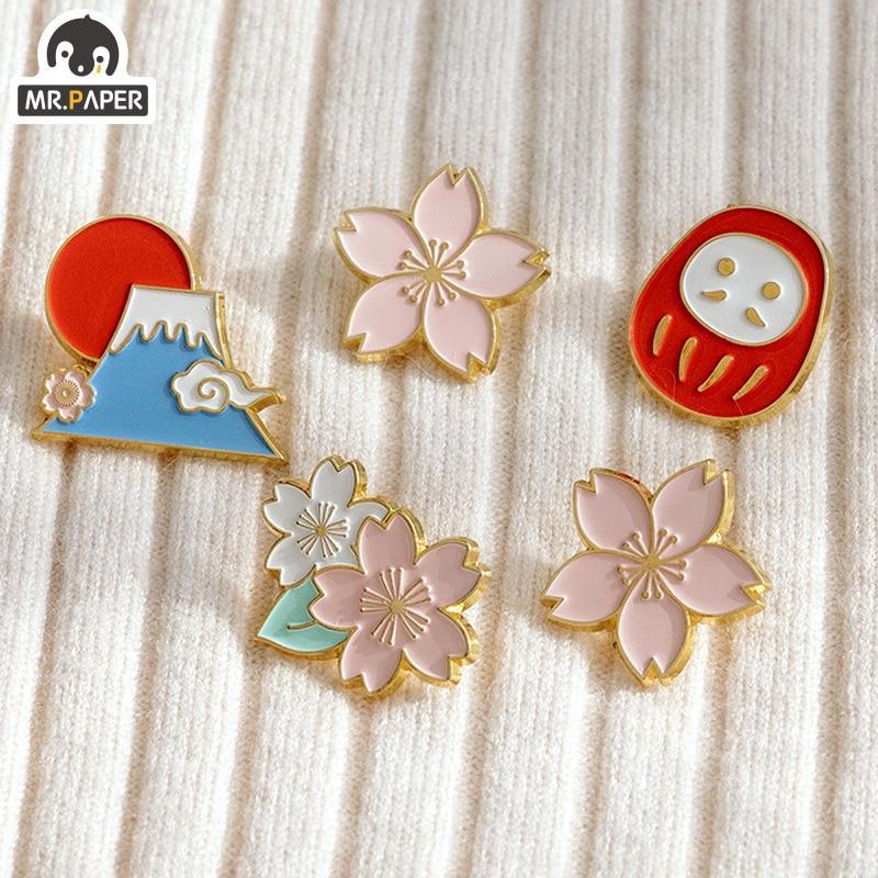 Mr.Paper 4 Designs Japanese Sakura Mt Fuji Original Metal Memo Pad Photo Holder Deco Standing Memo Smooth Badges Easy To Remove