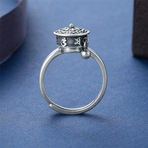 Image 3 - V.YA 100% 925 Silver Buddhist Ring for Women Tibetan Prayer Wheel Ring OM Mantra Ring Good Luck Women Ring