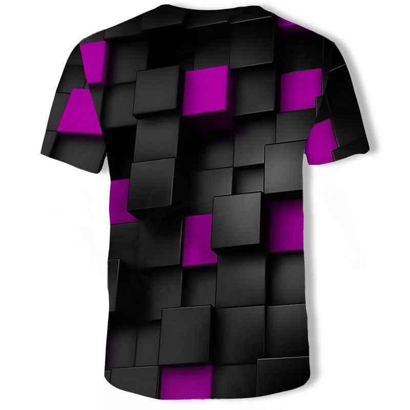 2019 Nuovo di Marca Plaid Geometrica delle T-Shirt Da Uomo T-Shirt da Uomo Della Banda T-Shirt Per Il Tempo Libero T-Shirt 3d di Colore degli uomini di Stampa usura
