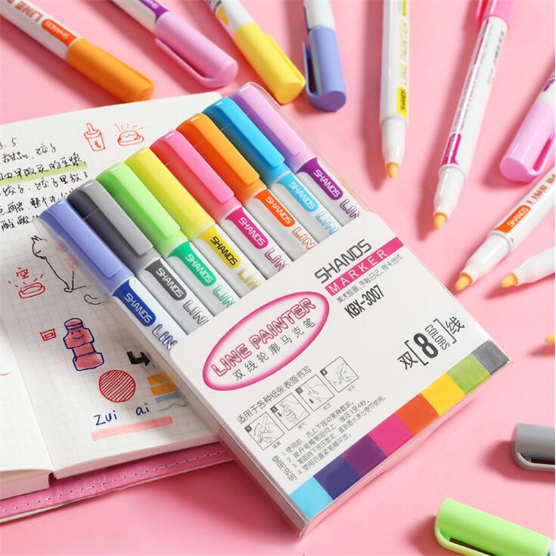 8pc/set Double Line Outline Pen Glitter Color Fluorescent Marker Metal Color Pen Handwriting Pen Color fluorescent marker