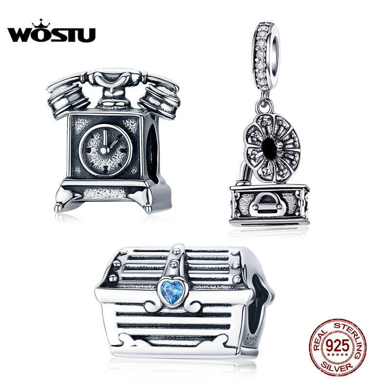 WOSTU Genuine 925 Sterling Silver Charms Retro Gramophone & Phone Treasure Chest Beads Fit Original Bracelet Pendant 925 Jewelry