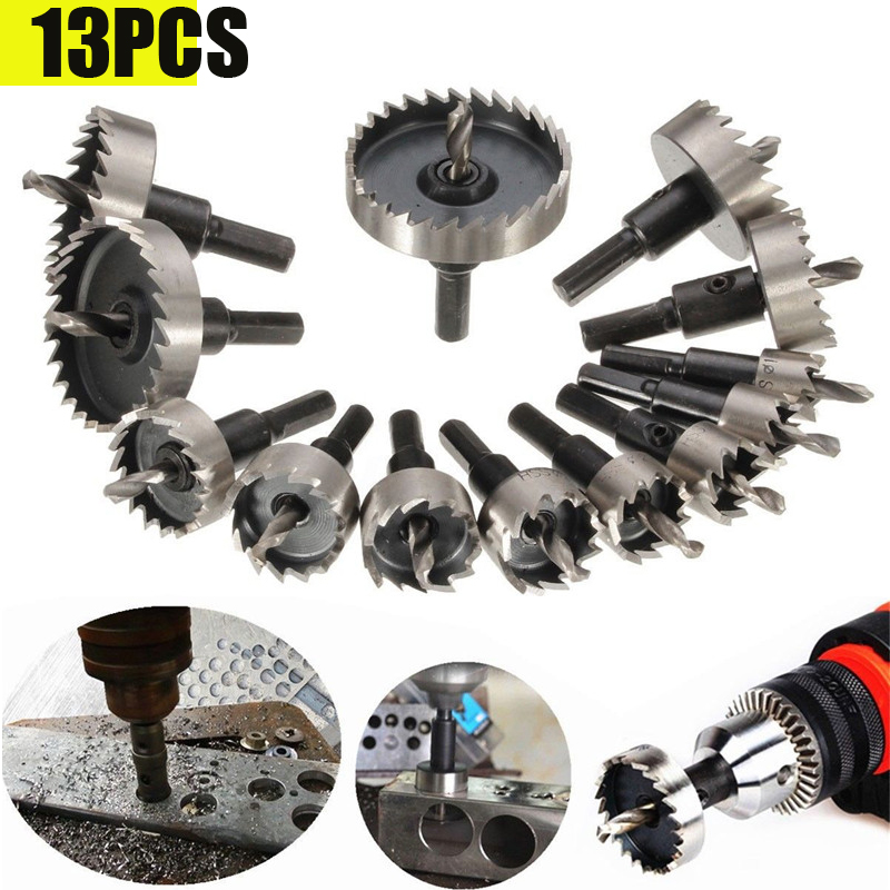 13PCS HSS Drill Bit Set High Speed Steel Carbide Tip Hole Saw Tooth Cutter Metal Drilling Hand Woodwork Cutting Carpentry Crowns