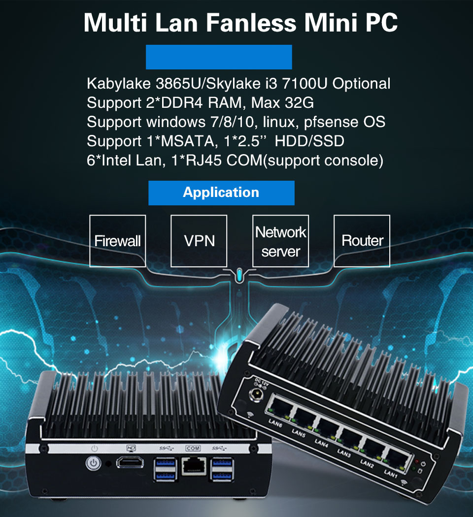 Mini Pfsense Pc 6*Intel 1000M LAN Core I3 7100U I5 7200U Celeron 3855U AES-NI Firewall WIFI ROUTER MINI Computer DDR4 Ram