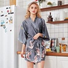 Соблазнительное кимоно Банный халат с принтом крана Hqalf рукав Новинка Домашняя одежда атласная мини Повседневная одежда для сна с v-образным вырезом интимное нижнее белье