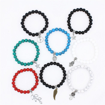 Pulsera de 8 Uds + colgante de piedra Natural de 18 abalorios pulsera de Yoga Mala de Chakra para mujeres y hombres pulsera de abalorios DIY Envío Directo