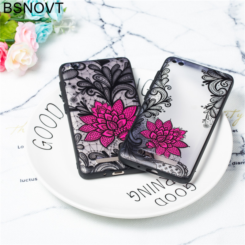 For Xiaomi Redmi 4A Case TPU +PC Lace Rose Flower Anti-knock Cover Funda BSNOVT