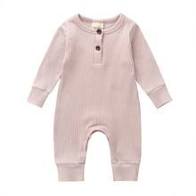 Newborn Infant Baby Boy Girl Knitted Romper Jumpsuit Long Sleeve Solid Cotton One Pieces Clothes Outfit Pink Grey Black White