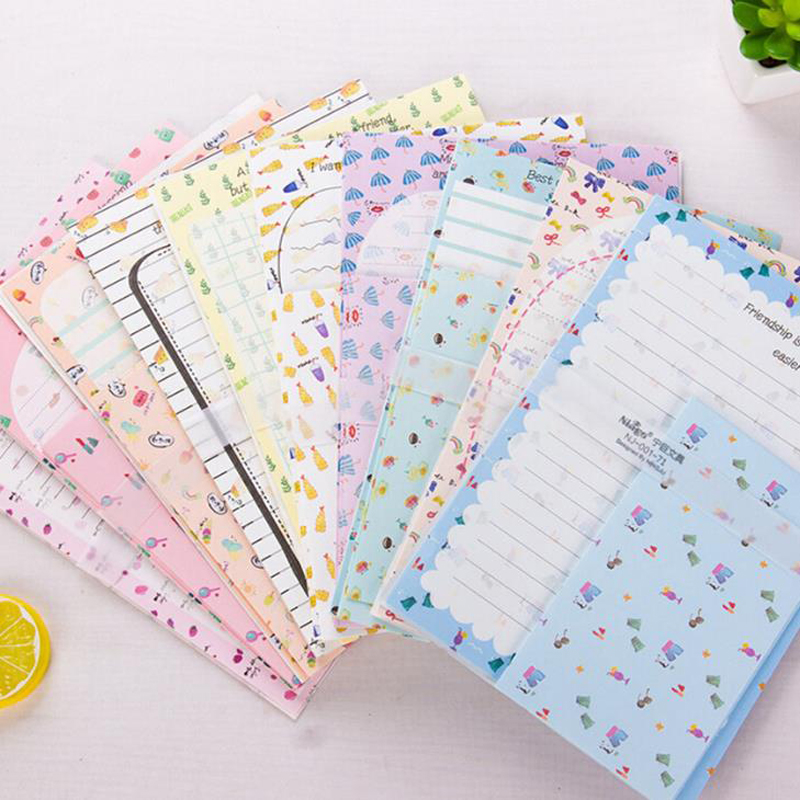 9 Pcs/pack Kawaii 3 Envelopes +6 Sheets Letters Fruit Flowers Paper Writing Envelope Letters Set School Students Stationery