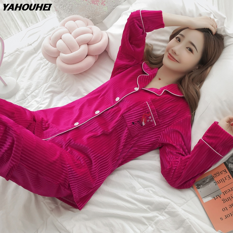 2019 Winter Thick Warm Gold Velvet Pajama Sets For Women Long Sleeve Soft Flannel Pyjama Female Home Clothing Sleepwear Homewear