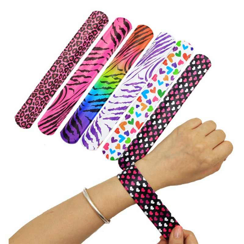 25Pcs/pack Slap Bracelets For Kids Snap Bracelets Bulk With Flower Animal Print Craft Halloween Christmas Party Favors Birthday