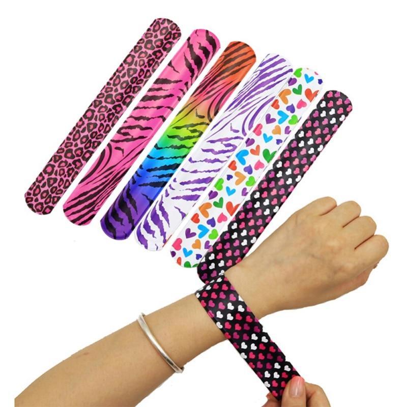 25Pcs/pack Slap Bracelets For Kids Snap Bracelets Bulk With Flower Animal Print Craft Halloween Christmas Party Favors Birthday