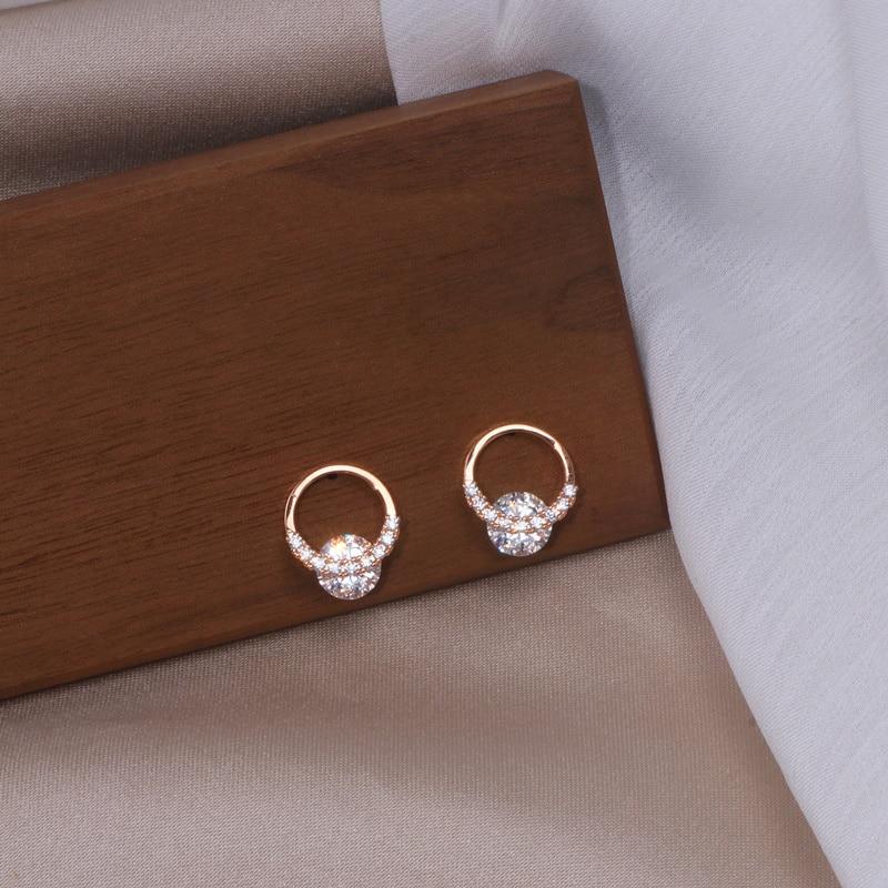 Luxury Shiny Zircon Crystal Geometric Circle Stud Earrings For Women Classic Elegant Simple Round Earrings Wedding Jewelry Gifts