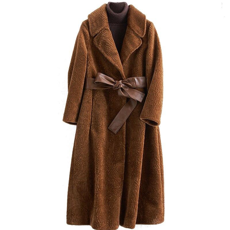 Shearing Sheep Overcoat Women 2020 Real Fur Coat Female Jacket Long Winter Warm Fur Coats Casaco Feminino BF33564LW619 S