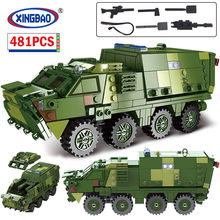 XINGBAO City WW2 Medical Armored Car Vehicle Model Building Blocks Military Army Weapon MOC Bricks Education Toys for Children