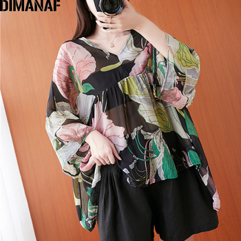 DIMANAF Summer Plus Size Women Blouse Shirts Chiffon Clothing Elegant Lady Tops Tunic Floral Print Beach Casual Loose Oversize