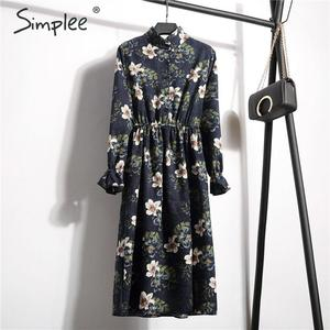 Image 3 - Simplee Corduroy plus size dress High waist ruffled floral print women dress Casual a line ladies chic autumn office dress 2019
