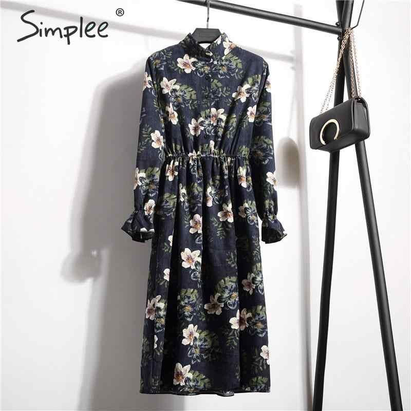 Simplee コーデュロイプラスサイズドレスハイウエストフリル花柄女性のドレスカジュアル a ラインレディースシックな秋のオフィスドレス 2019