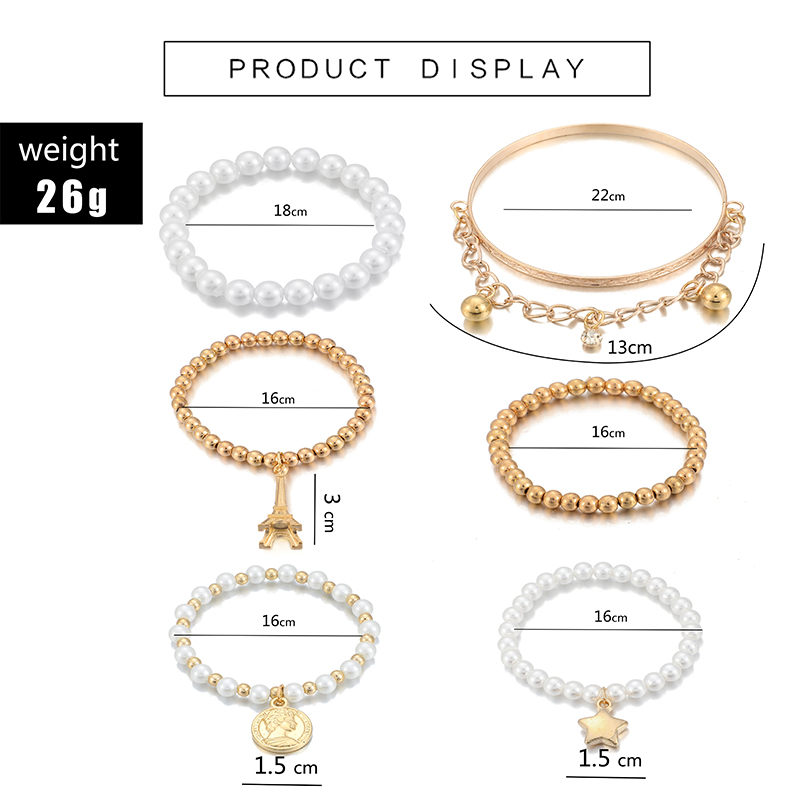 Tocona 6pcs/set Fashion Gold Color Beads Pearl Star Multilayer Beaded Bracelets Set for Women Charm Party Jewelry Gift 5483