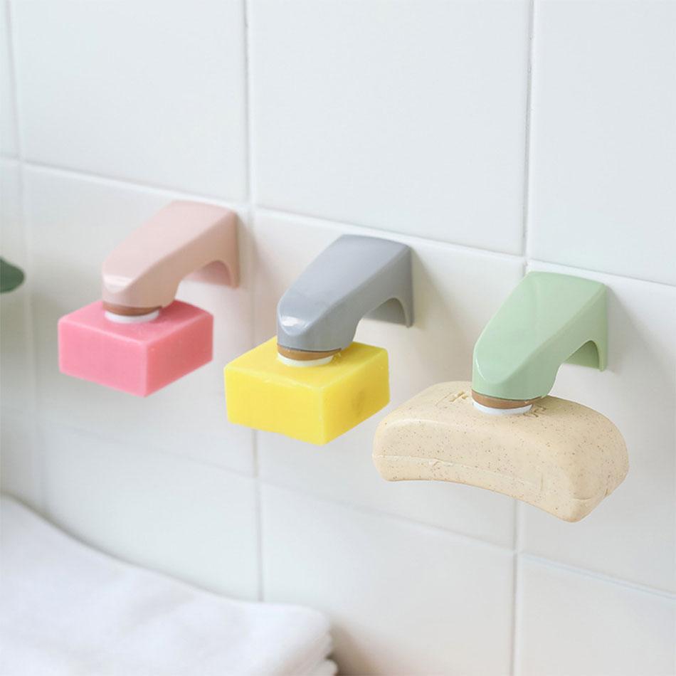未标题-1_01 5 Colors Bathroom Accessories Wall Mounted Storage Rack Dish with Stainless steel Sticker Soap Shelves Magnetic Soap Holders