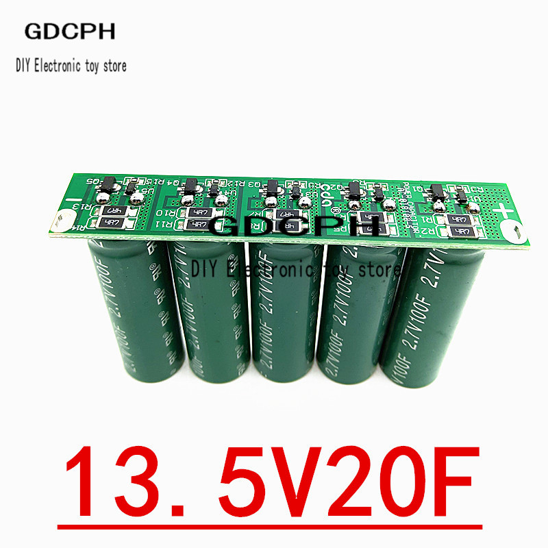 Uper Farad Capacitors 5PCS 2.7V 100F Super Capacitor With Protection 13.5V 20F Ultracapacitor