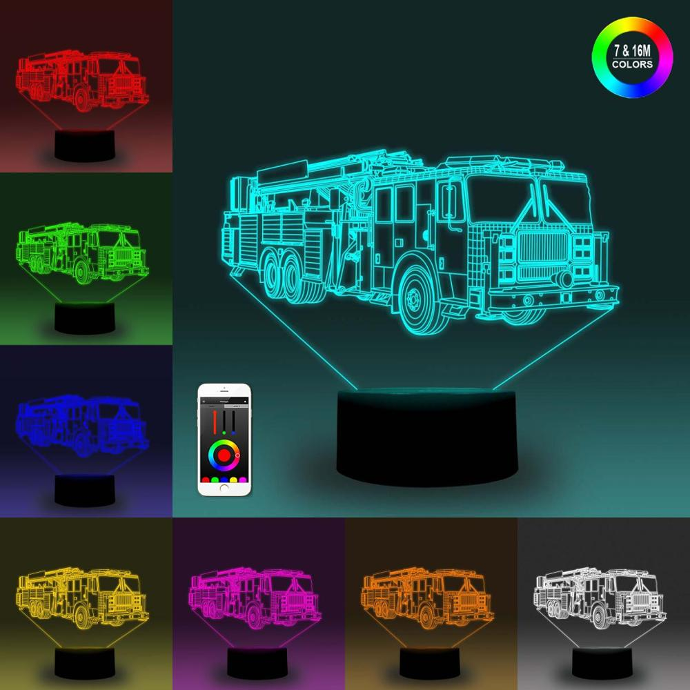 NiteApps 3D Six-wheeler Vehicle Night Light Desk Table Illusion Decoration Lamp Holiday Birthday Gift APP/Touch Control