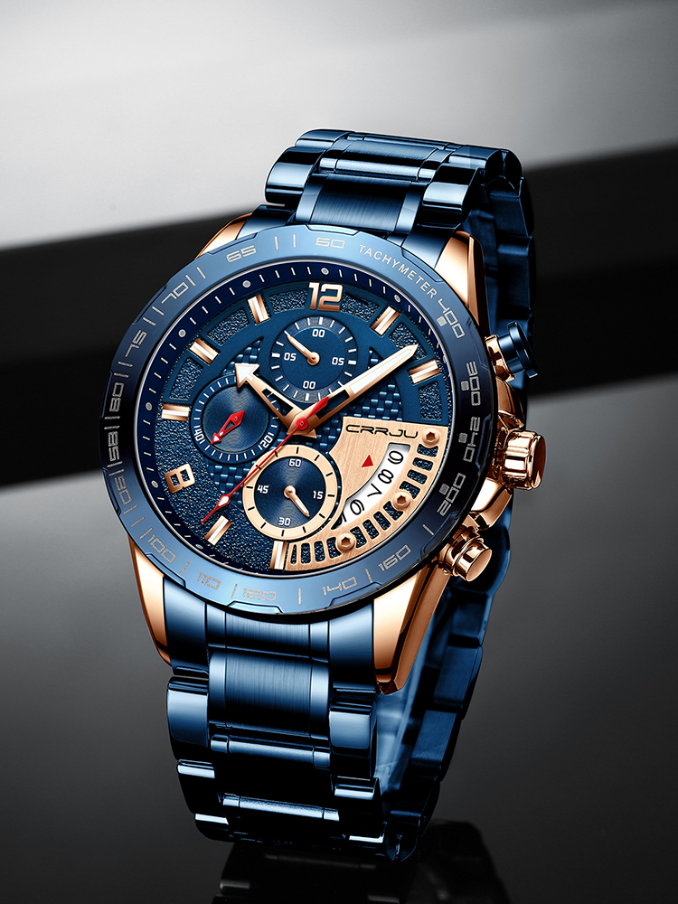 CRRJU Mens Watches Chronograph Business Stainless-Steel Top-Brand Luminous Fashion Luxury