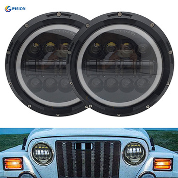 2PCS 7 inch projector LED Headlights for Jeep Wrangler 7'' round Hign Low Beam with Halo DRL for Hummer JK TJ LJ Motorcycle