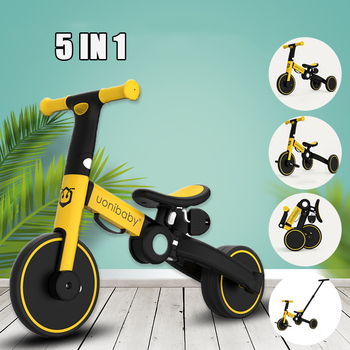 5-in-1 Children Bicycle Tricycle Child Bike Foldable Baby Balance Bicycle Children's Scooter Kids Walker for 1-6 Years Old Gift bicycle happy baby 50008 bike children bicycle balance bike for boys and girls for children grey dark gray kids bike running b