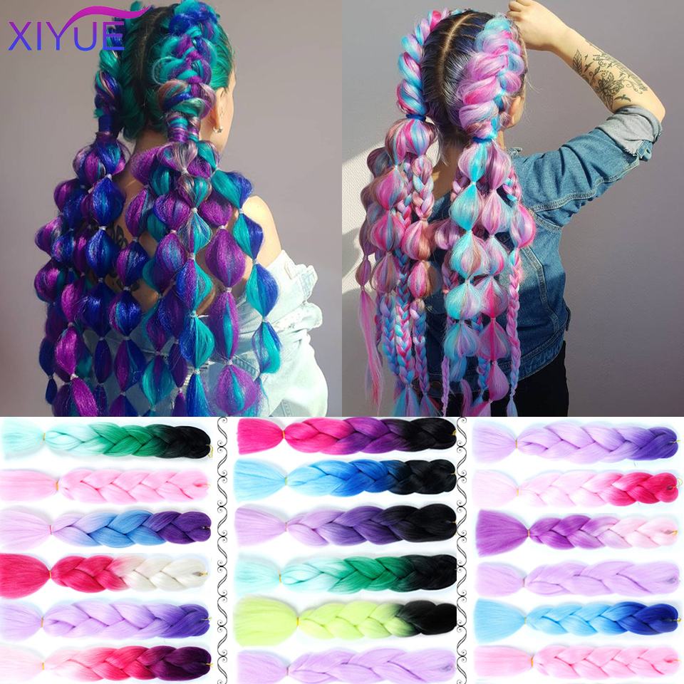 24 Inch Braiding Hair Extensions Jumbo Crochet Braids Synthetic Hair Style Pink Purple Yellow Golden Colors Crochet Braids