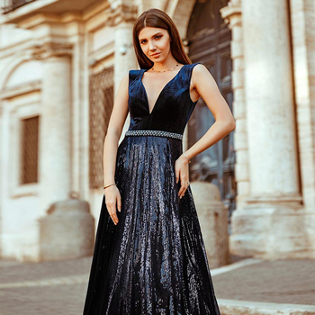 Vestidos De Festa Ever Pretty Elegant A Line V Neck Velvet Sparkly Beaded Long Formal Party Dresses 2020 Sexy Prom Dresses