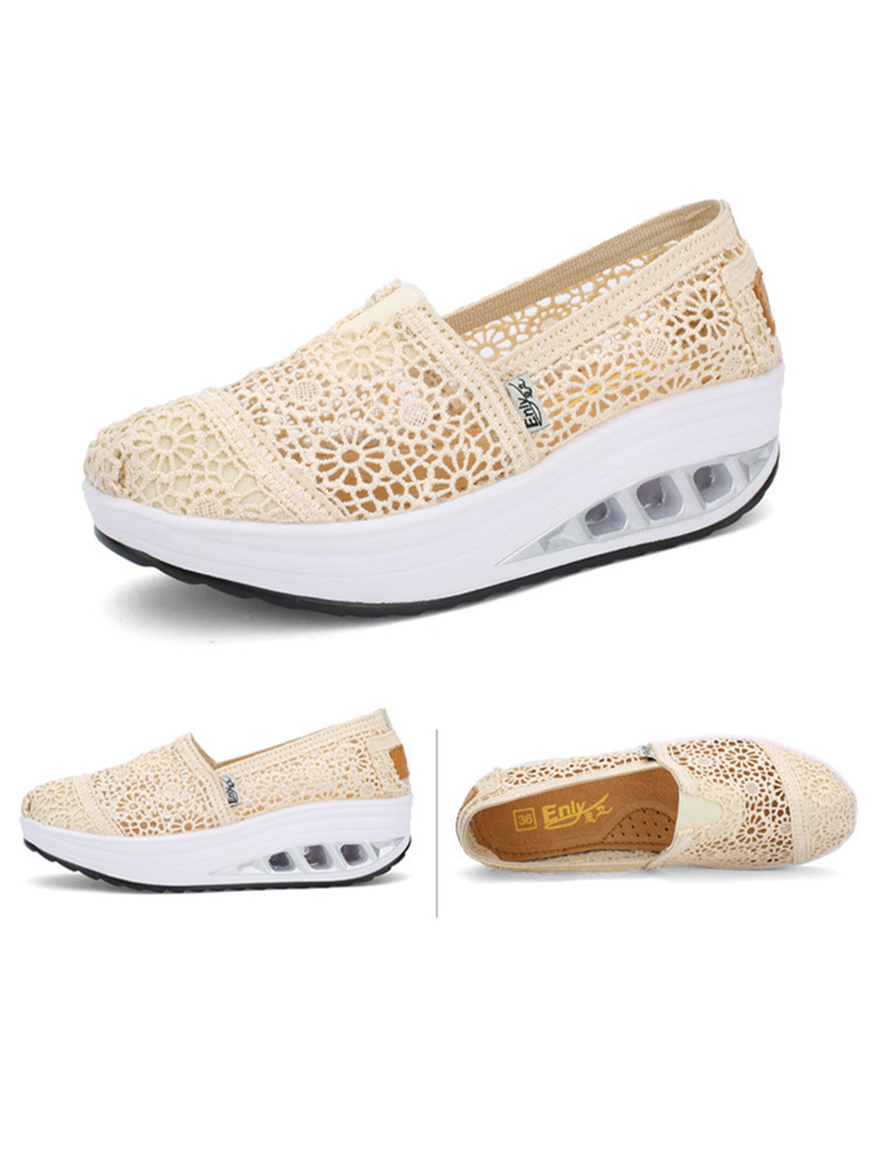 New Spring Summer Hollow Canvas Shoes Women Fashion Lace Slip on Shoes for Women Breathable Platform Shoes 2020 VT750 (16)