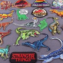 Remendos do parque jurassic para a roupa listras do dinossauro para a roupa etiquetas bordadas ferro em remendos na roupa apliques emblemas