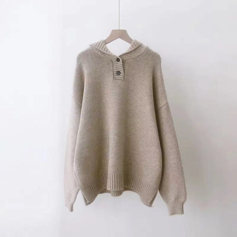 H.SA Women Oversized Hooded Sweater And Jumpers Long Sleeve Knitted Pullovers Button Up Purple Sweater Pull Femme Jersey Mujer