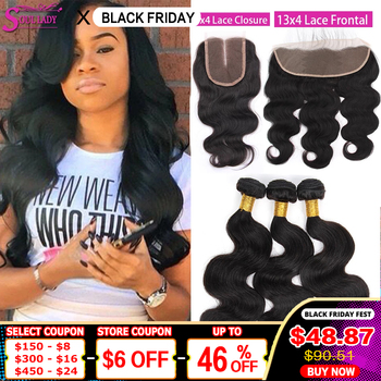 HD Transparent Lace Closure With Bundles Brazilian Body Wave Bundles With Closure Top Human Hair BodyWave Bundles With Frontal image