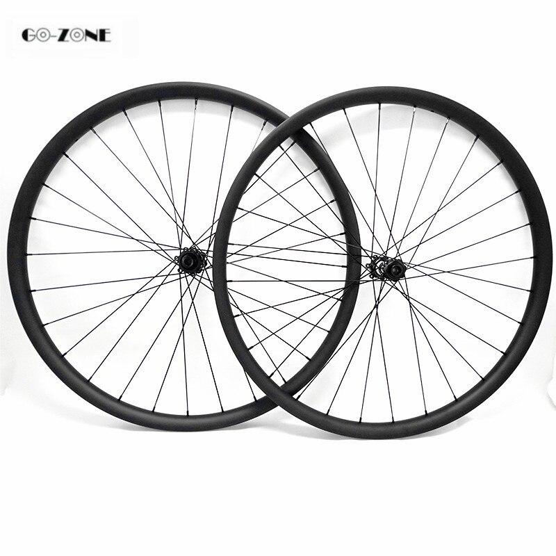 27.5er asymmetric 35x25mm tubeless mountain bicycle wheels DT350S boost 110x15 148x12/ thru axle 650B mtb carbon disc wheelset Bicycle Wheel     - title=