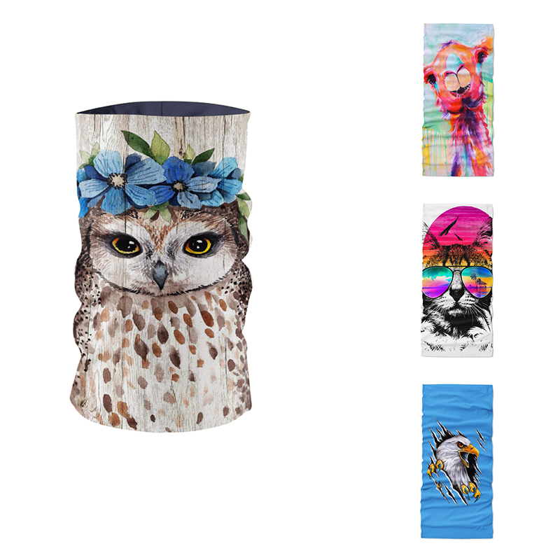 New Creative Design Animal Oil Painting Women Scarf DIY Art Bandana Microfiber Seamless Tube Magic Sports Dust-proof Hijab Scarf