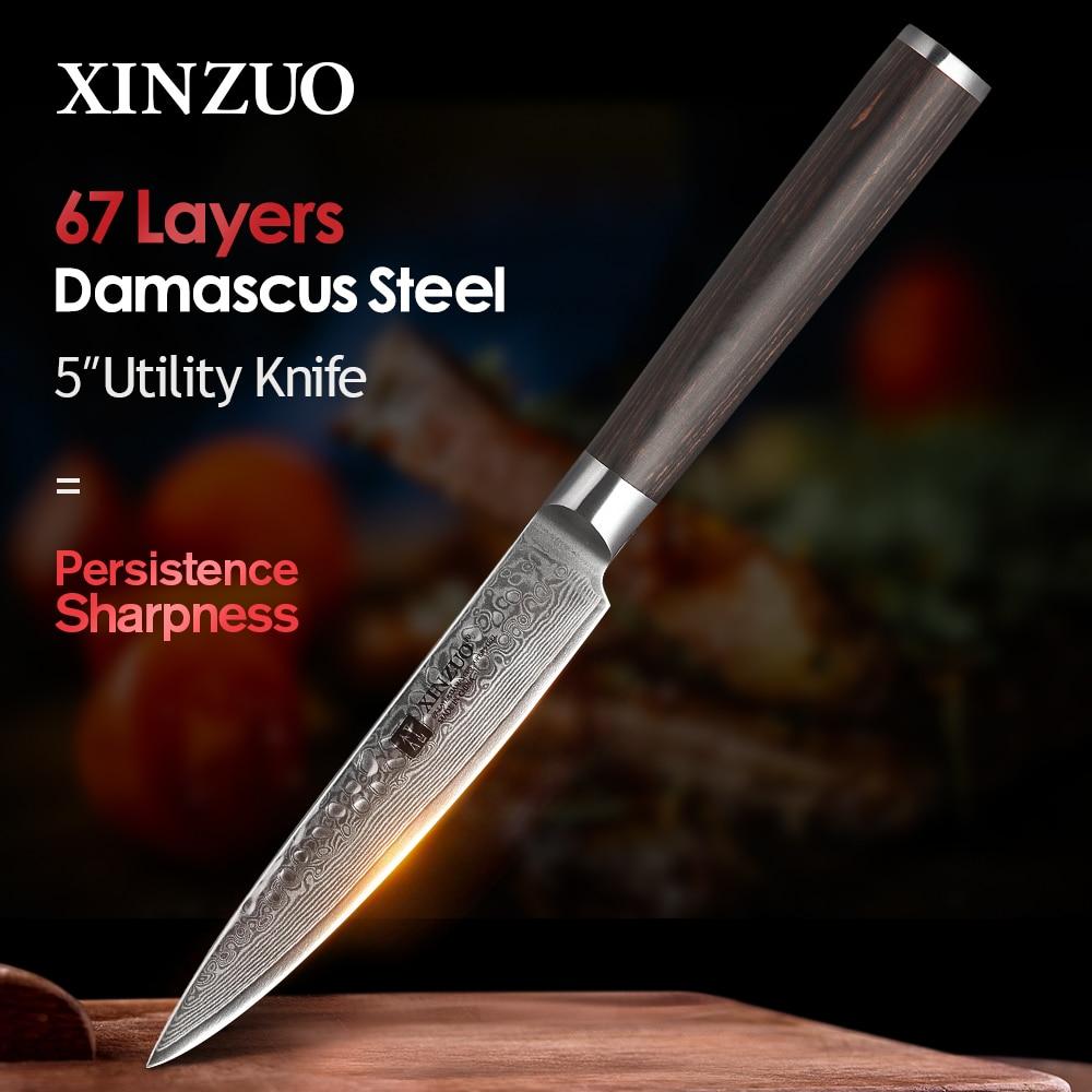 """XINZUO 5 """"Cuchillo de utilidad hecho a mano japonés VG10 cuchillo de cocina Damascus nuevo cuchillo de cocina con mango de madera Pakka"""