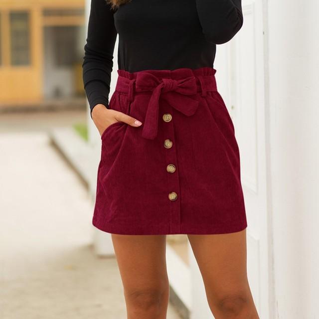 Women's Fashion Vintage Corduroy Skirt Hight Waist Pocket Button Elastic