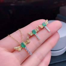 MeiBaPJ, натуральный изумруд, стрекоза, ювелирный набор, 925 пробы, серебро, ожерелье, серьги, 2 шт., костюм, хорошее ювелирное изделие для женщин