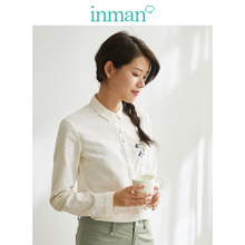 INMAN 2017 spring new literary style contrast color embroidered all-match long sleeves shirt blouse contrast color stripe long sleeves coat