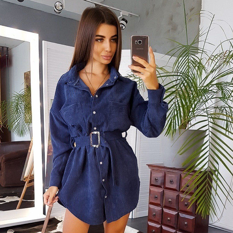 Women Winter Belt Straight Mini Dress Ladies Long Sleeve Turn Down Collar Party Dress 2019 Solid Vintage Fashion Dress