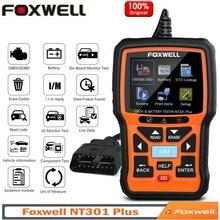 FOXWELL NT301 Plus รถเครื่องมือวินิจฉัยเครื่องวิเคราะห์เครื่องยนต์ OBD2เครื่องสแกนเนอร์ Professional 12V เครื่องทดสอบ EOBD OBDII Code Reader