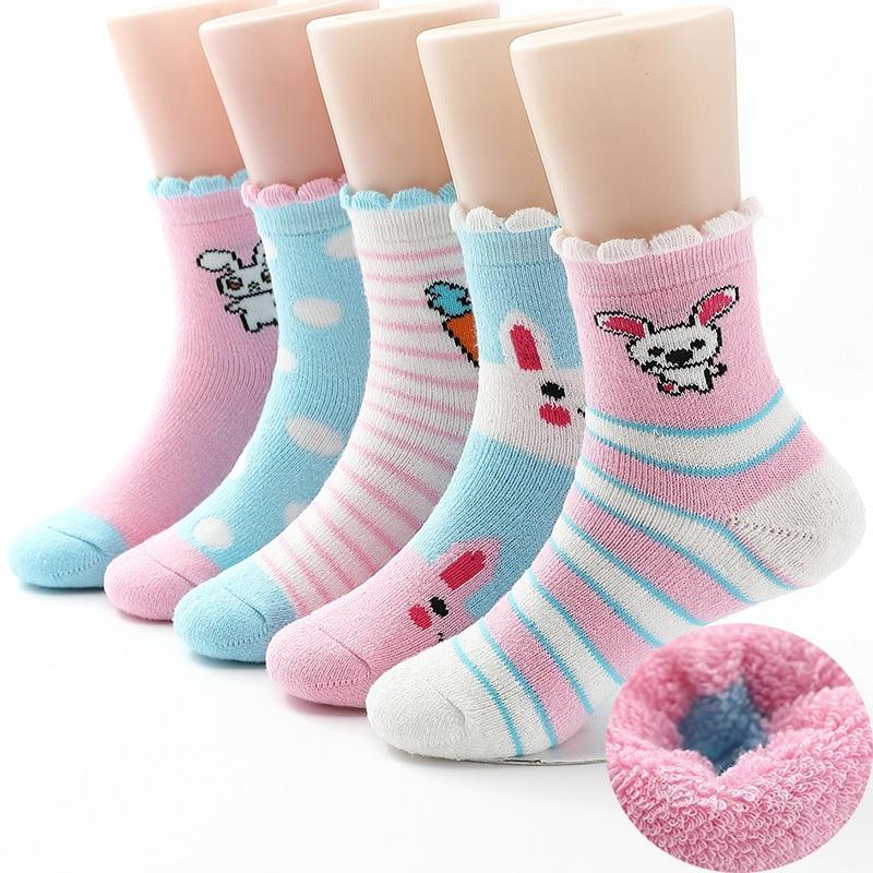 2019  New Winter Girls Socks Plus Velvet Thick Cotton Lacework Children Socks 0-12 Year Kids Socks For Girls 5 Pairs/lot