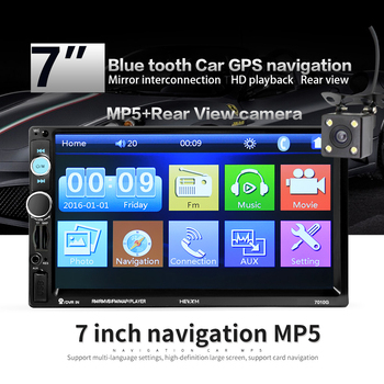 2 din 7 inch HD Car Radio GPS Navigation Player Camera Bluetooth AUX MP3 MP5 Stereo FM Audio USB Auto Electronic 2din Autoradio image