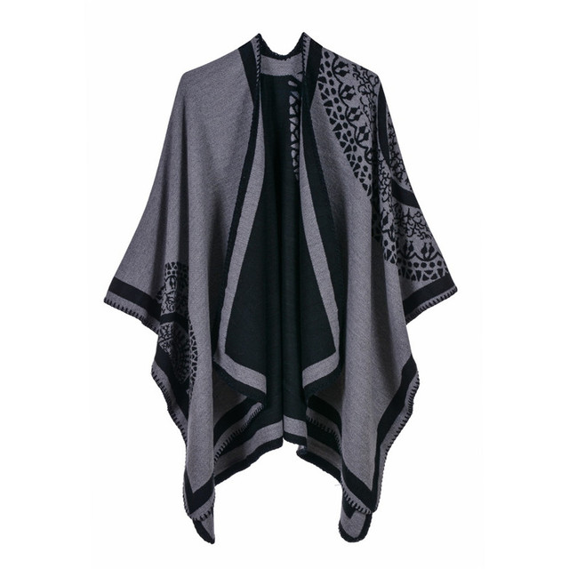 Luxury Brand Ponchos coat 2020 Cashmere Scarves Women Winter Warm Shawls and Wraps Pashmina Thick Capes blanket Femme Scarf 1